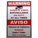 """Video Security Warning Sign, Large Size 11""""(W) x 18""""(H)"""
